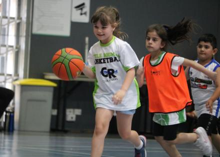 little girls playing basketball